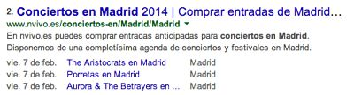 Rich Snippets eventos y conciertos